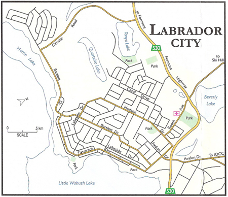 Map of Labrador City, Newfoundland and Labrador