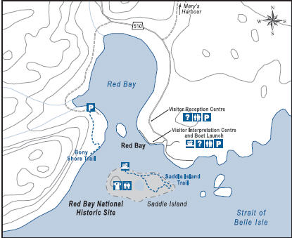 Red Bay is named for the reddish cliffs found along the local shoreline. Between 1550 and 1600, Red Bay was the site of Buttes, a major Basque whaling station.